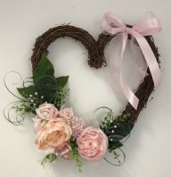 FRONT DOOR TWIG WREATH PINK FLOWERS ROSE PEONY HOME WALL DECOR HEART BROOCH